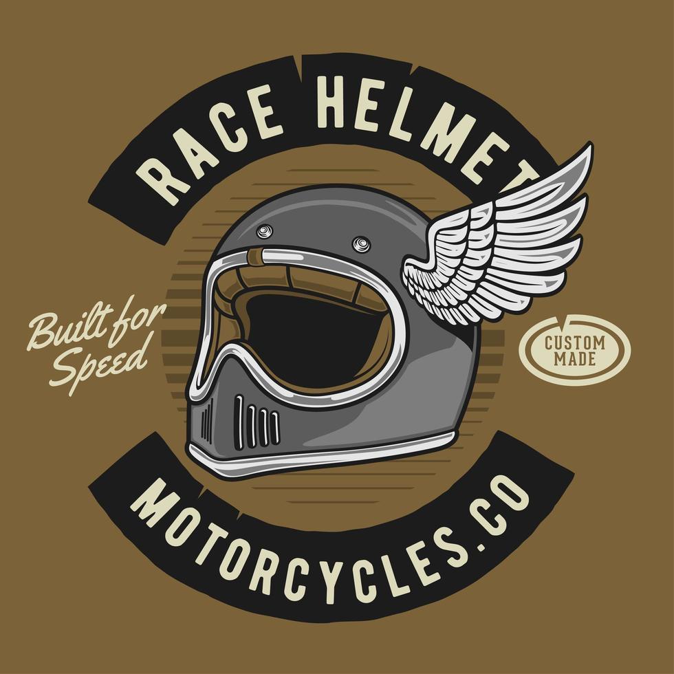 klassieke moto racer helm met vleugel vector