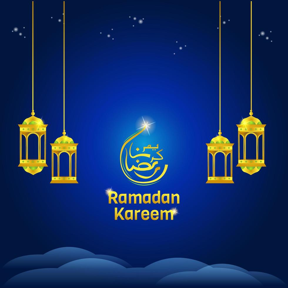 ramadan kareem-lantaarns op blauw vector