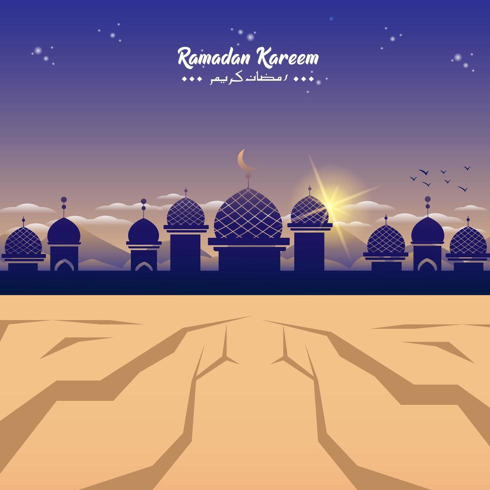 ramadan moskee silhouet in de woestijn vector
