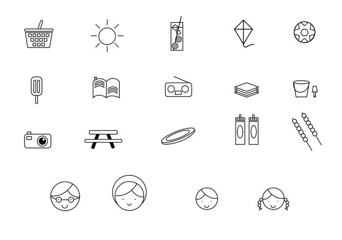 Familie Picnic Line Icons vector