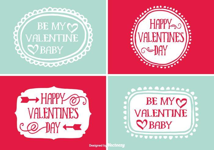Leuke Handgetekende Valentijnsdag Etiketten vector