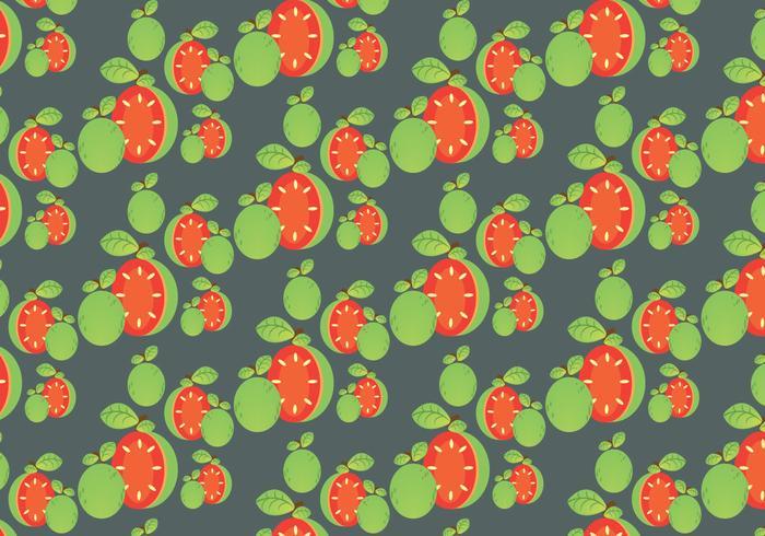 Gratis Guava Patroon en Blad Vector