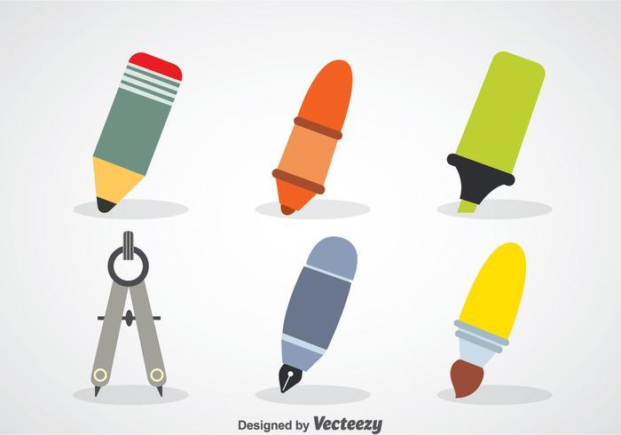 Stationaire vlakke pictogrammen vector