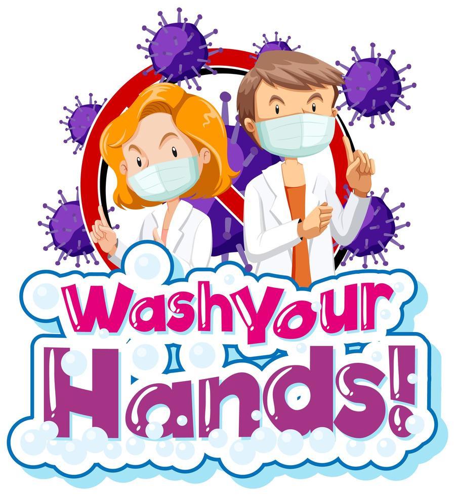 coronavirus thema met woord was je handen vector