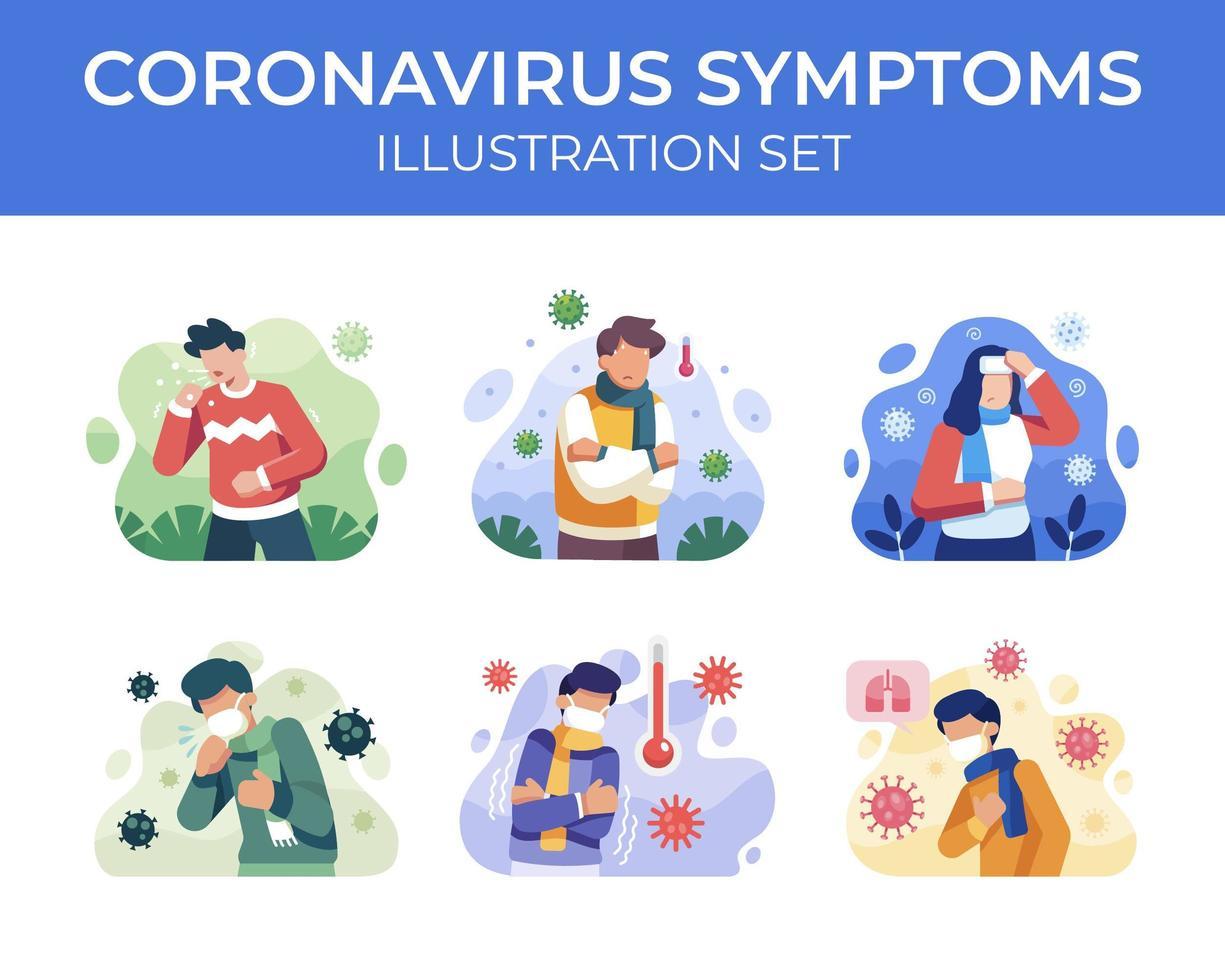 coronavirus symptomen scène ingesteld vector
