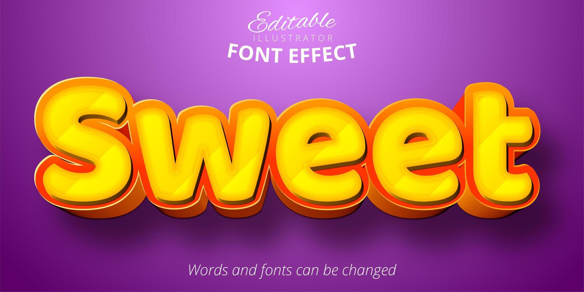zoete tekst, 3d bewerkbaar lettertype-effect vector