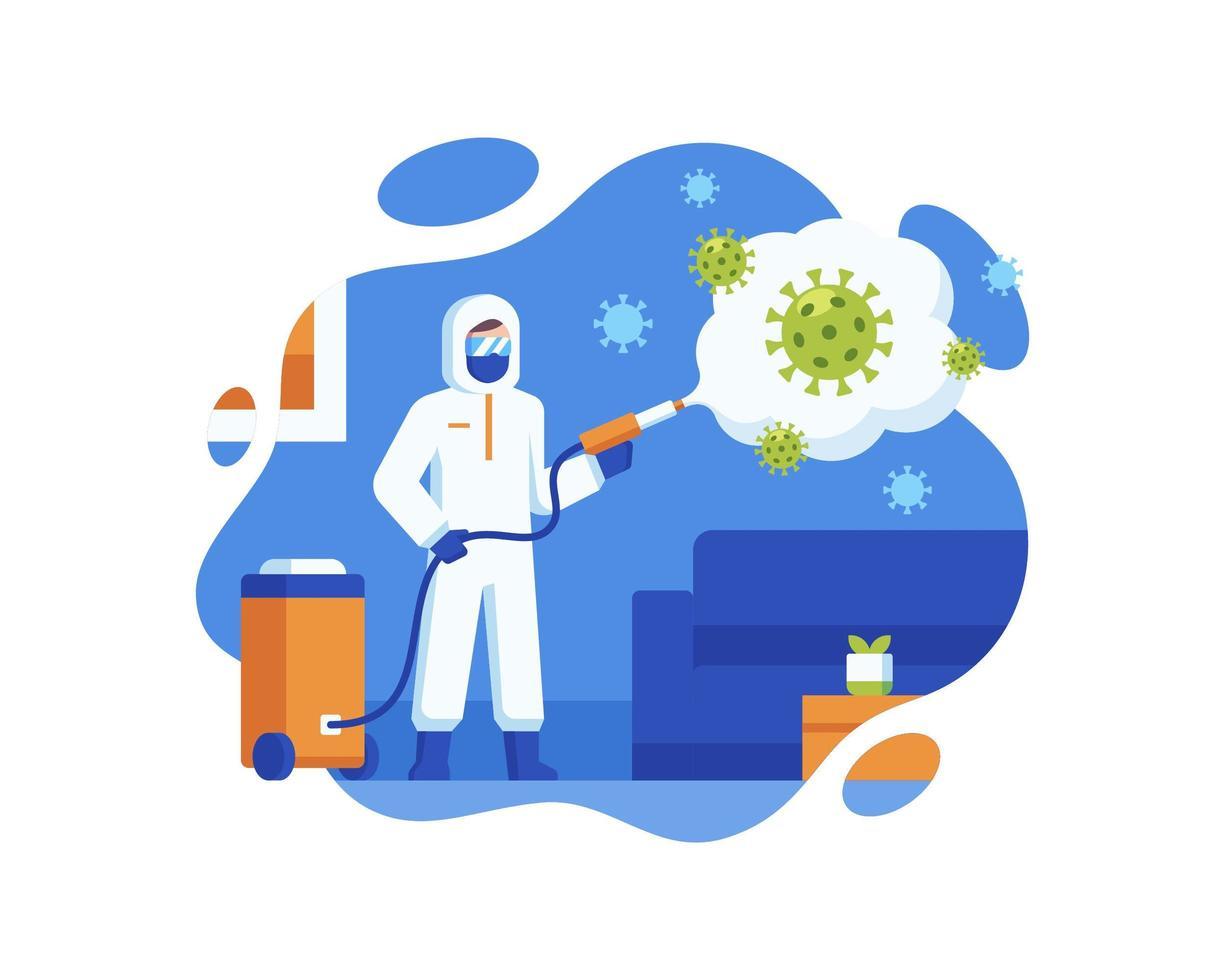gezondheidswerker sproeien desinfectiemiddel om coronavirus schoon te maken vector