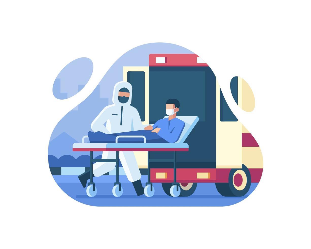 patiënt die lijdt aan coronavirus dat in ambulance wordt gebracht vector