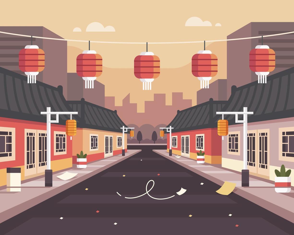 chinatown achtergrond illustratie na uitbraak van het coronavirus vector