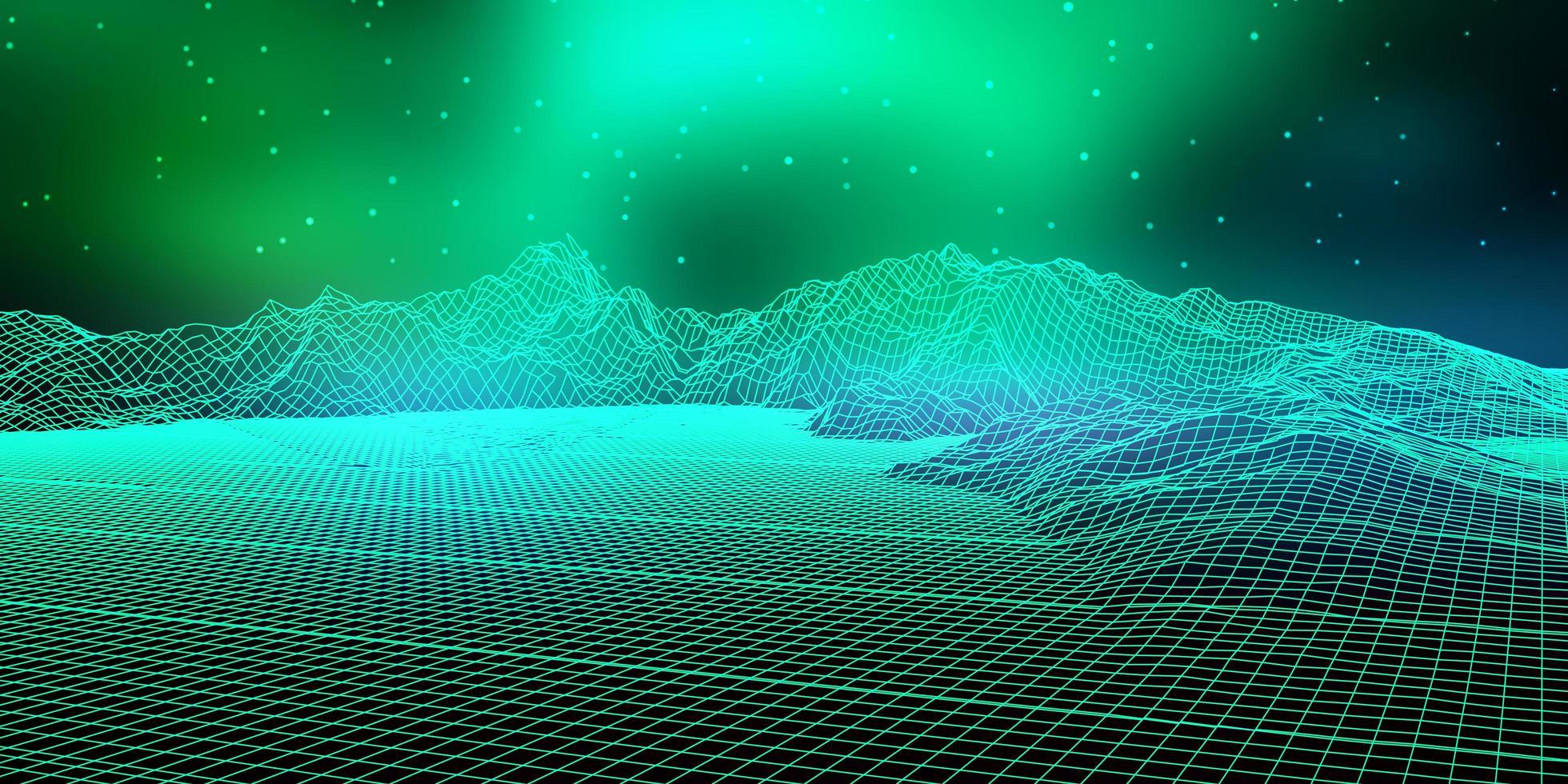 abstract digitaal landschap met draadframe vector