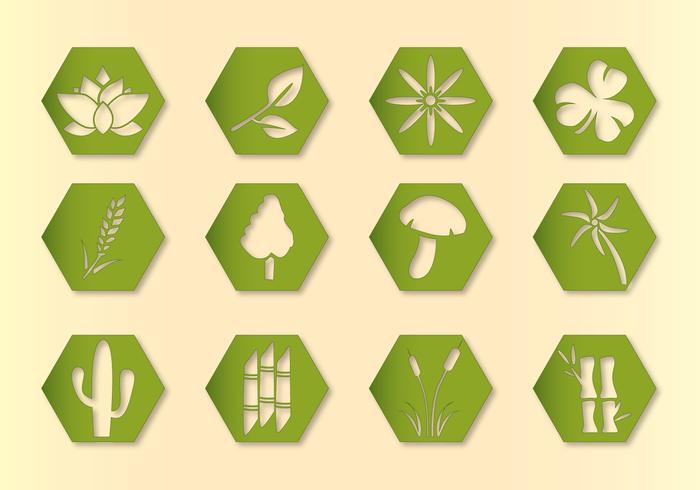 Hex Vector Planten Pictogrammen