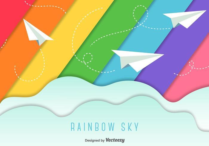 Papier vliegtuigen hemel achtergrond vector