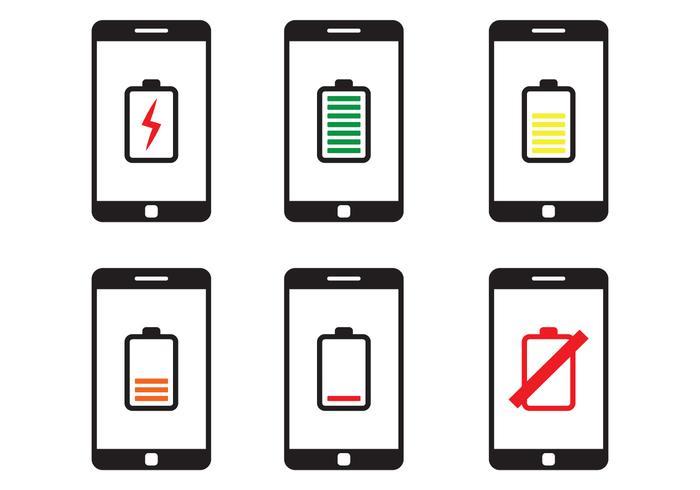 Telefoon batterij icoon vector