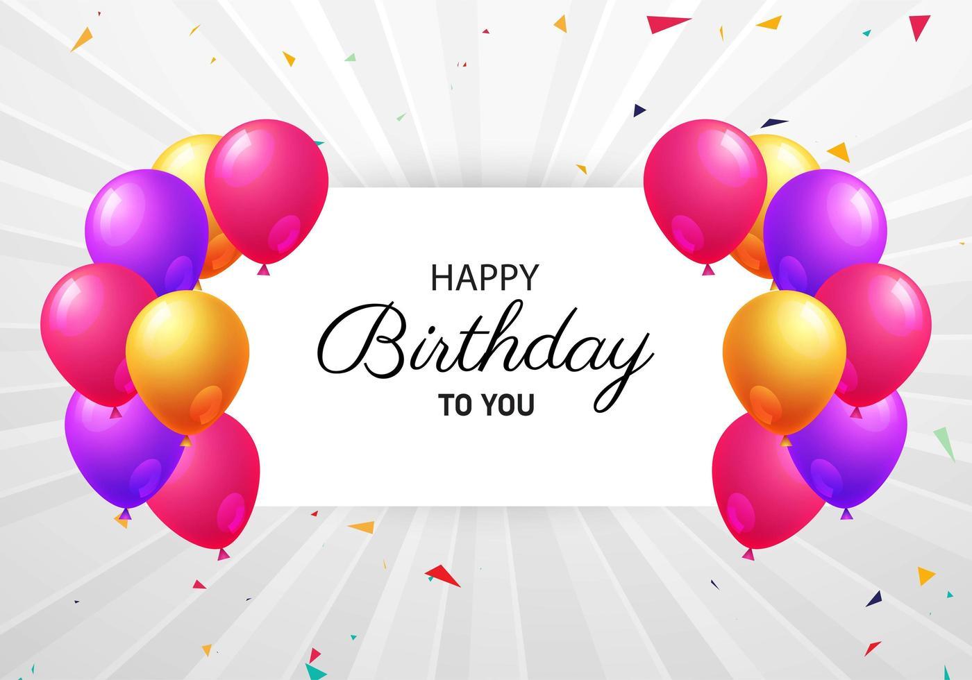 grijze sunburst verjaardag achtergrond met kleurrijke ballonnen vector