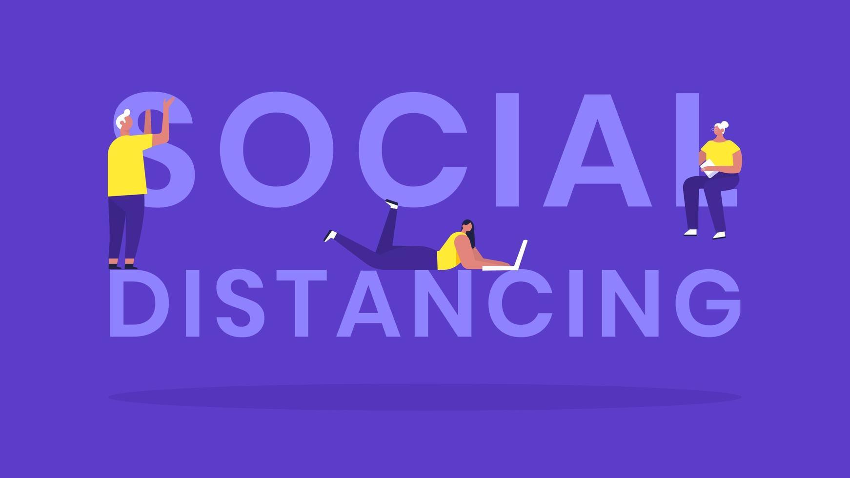 sociale afstand typografische banner met mensen vector