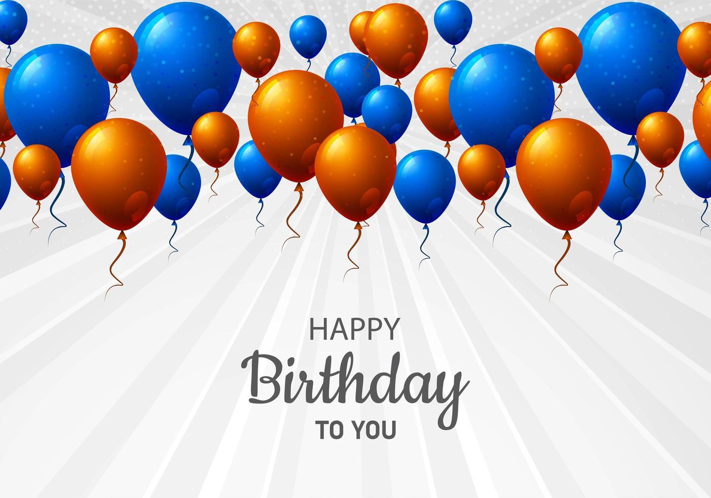 oranje en blauwe verjaardag ballon viering achtergrond vector