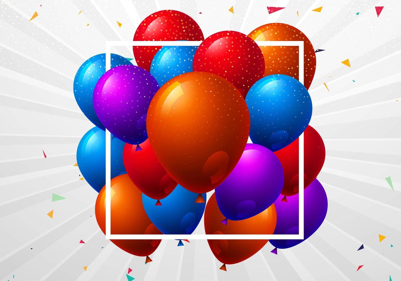 prachtige vliegende kleurrijke ballonnen in wit frame vector