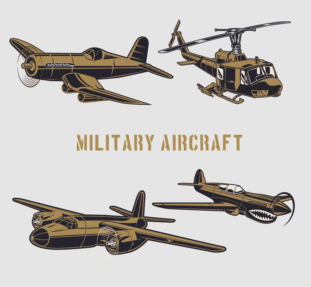 militaire vliegtuigen ingesteld vector