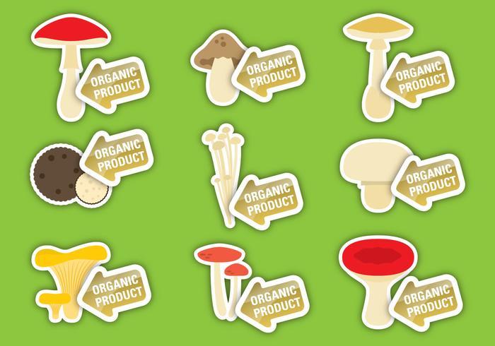 Champignons Label Vectoren
