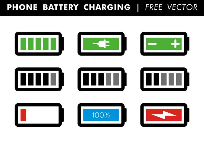 Telefoon batterij laden gratis vector