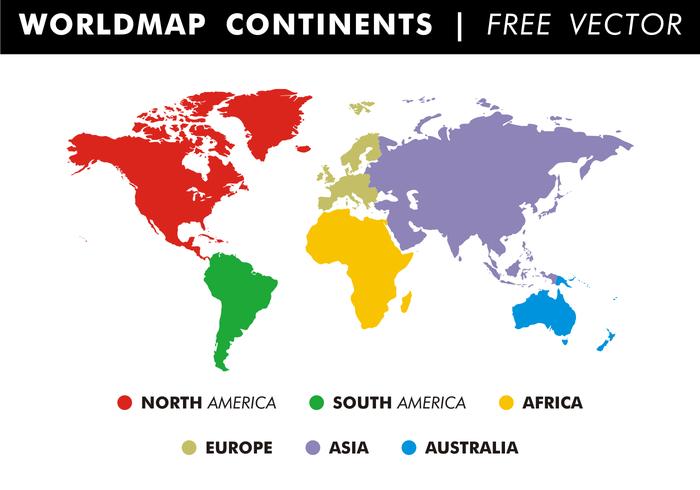 Wereldkaart Continenten Gratis Vector