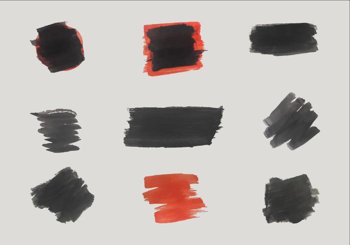Gratis Zwarte en Rode Vector Borstelvormen