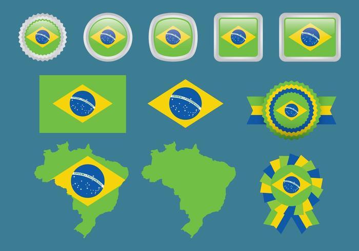 Brazilië En Olympische Vlaggen vector