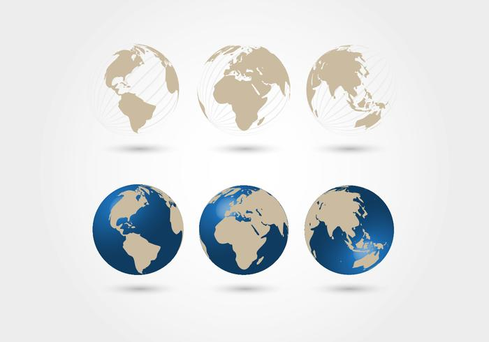 World Map Spheres Vector