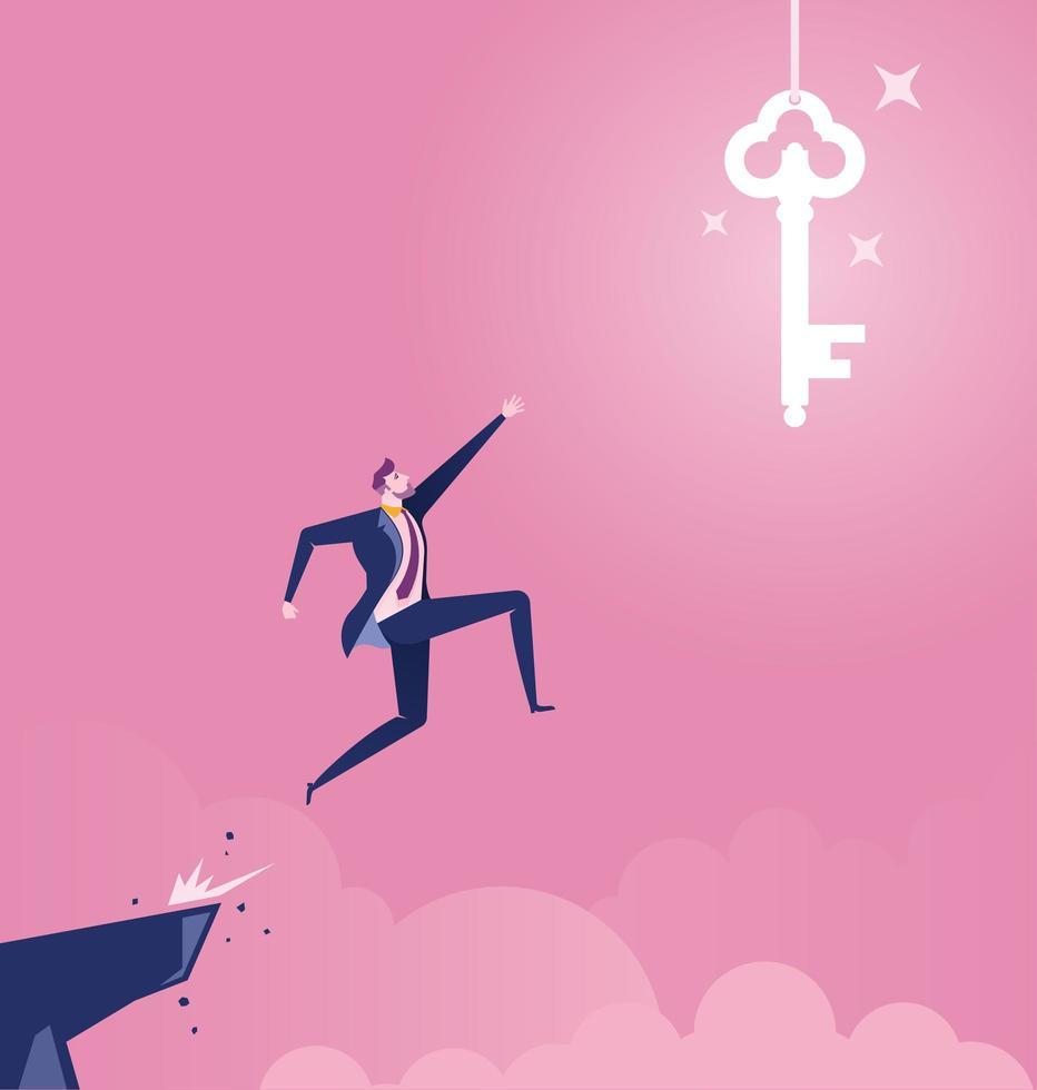 zakenman springen van klif naar hangende sleutel vector