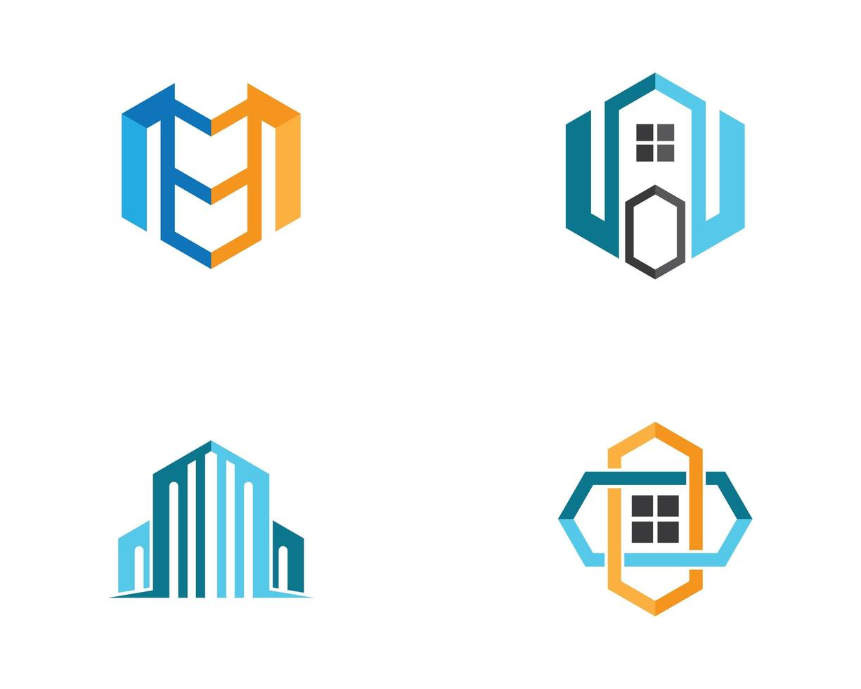 onroerend goed logo set vector