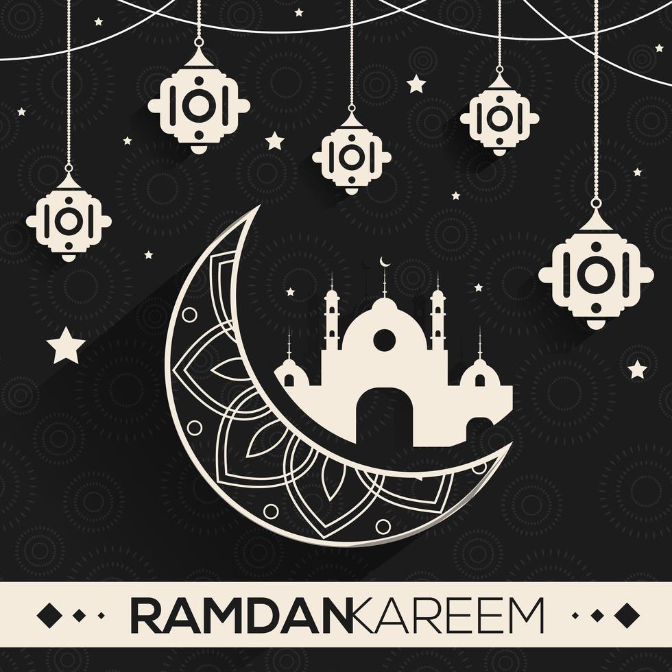 ramadan ontwerp met witte sierlijke maan en elementen vector