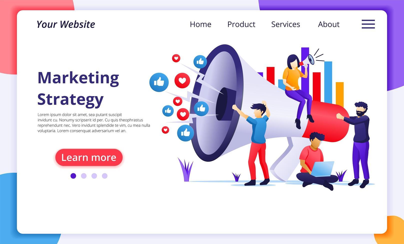 marketingstrategie campagne concept vlakke stijl vector