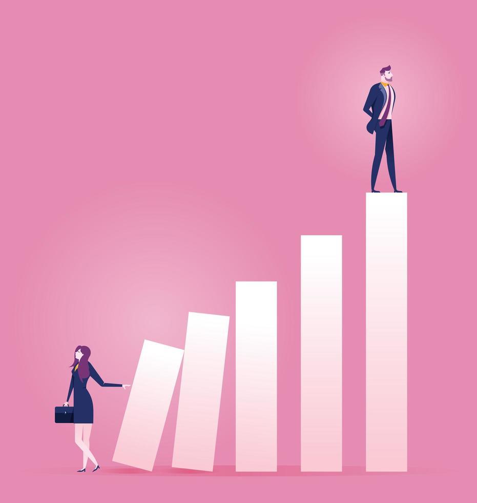 zakenvrouw duwen carrière ladder met andere man bovenop vector