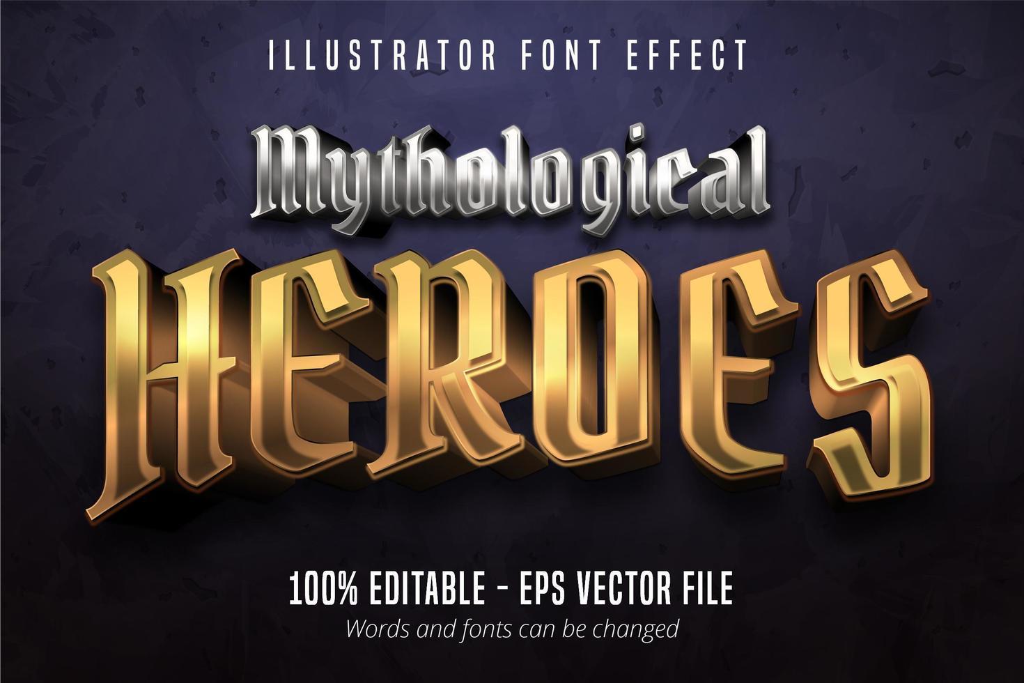 mytologische helden tekst, 3D-goud en zilver metallic stijl bewerkbare lettertype-effect vector