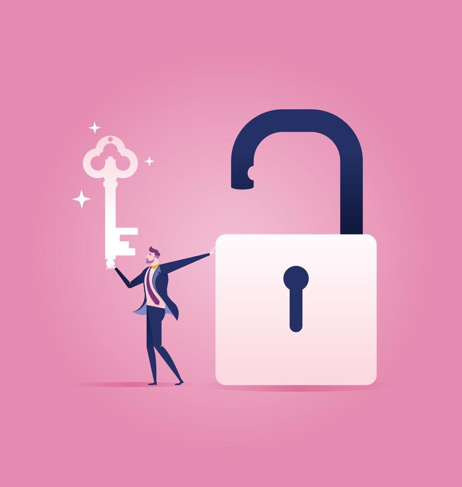 zakenman met een sleutel in een hand en een open hangslot vector