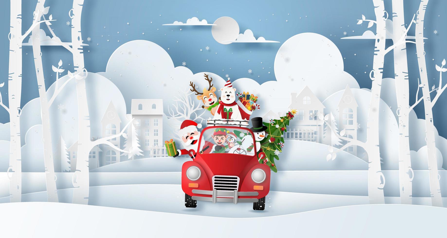 Kerst vrienden met santa in auto kerstdorp verkennen vector