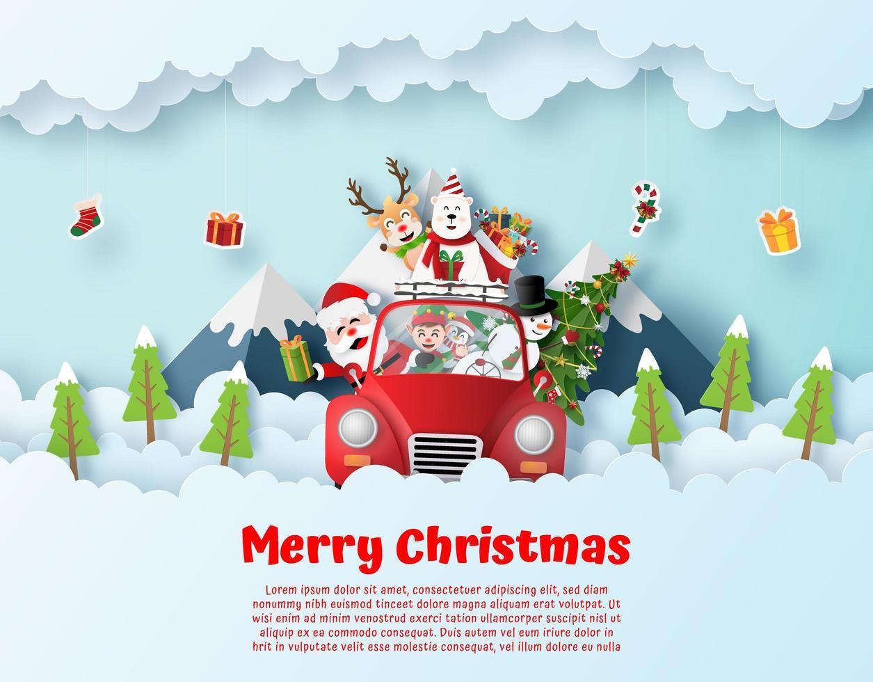Kerstman en vriend rijden kerst rode auto aan de hemel vector