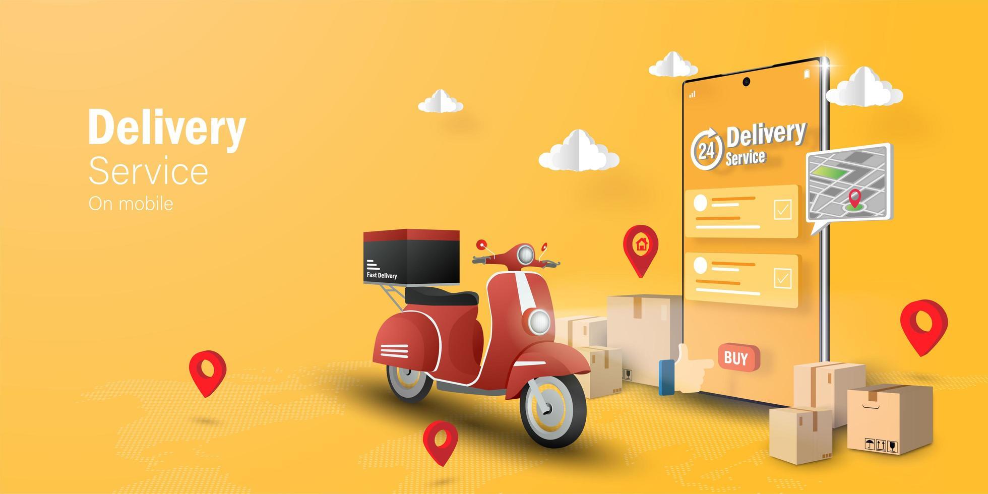 e-commerce concept, bezorgservice op mobiele applicatie vector