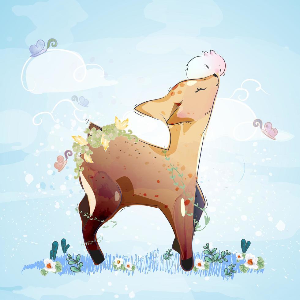 herten en konijn in bloem veld vector
