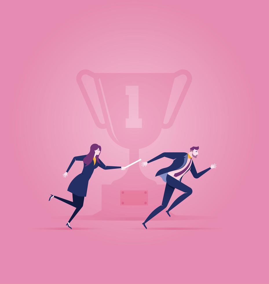 teamwork. bedrijfsconcept van het bereiken van trofee of doel vector