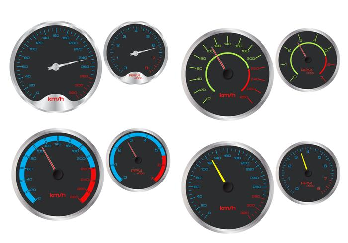Snelheidsmeter en rpm-vectoren vector
