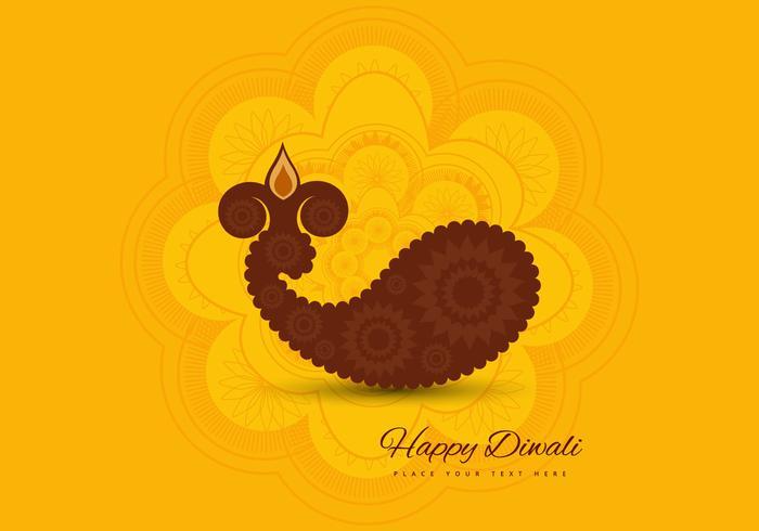 Paisley Diwali Diya vector
