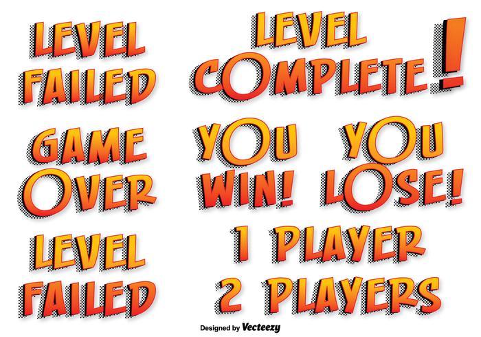 Spel vector tekst labels