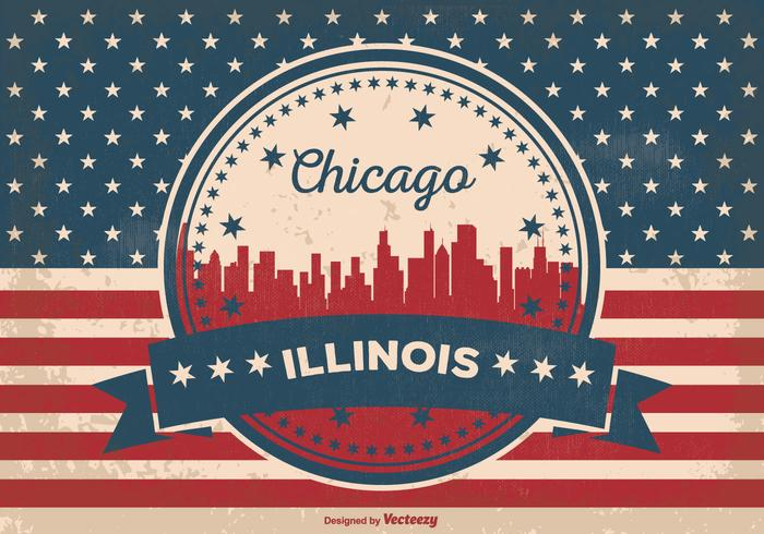 Chicago Illinois Skyline Illustratie vector
