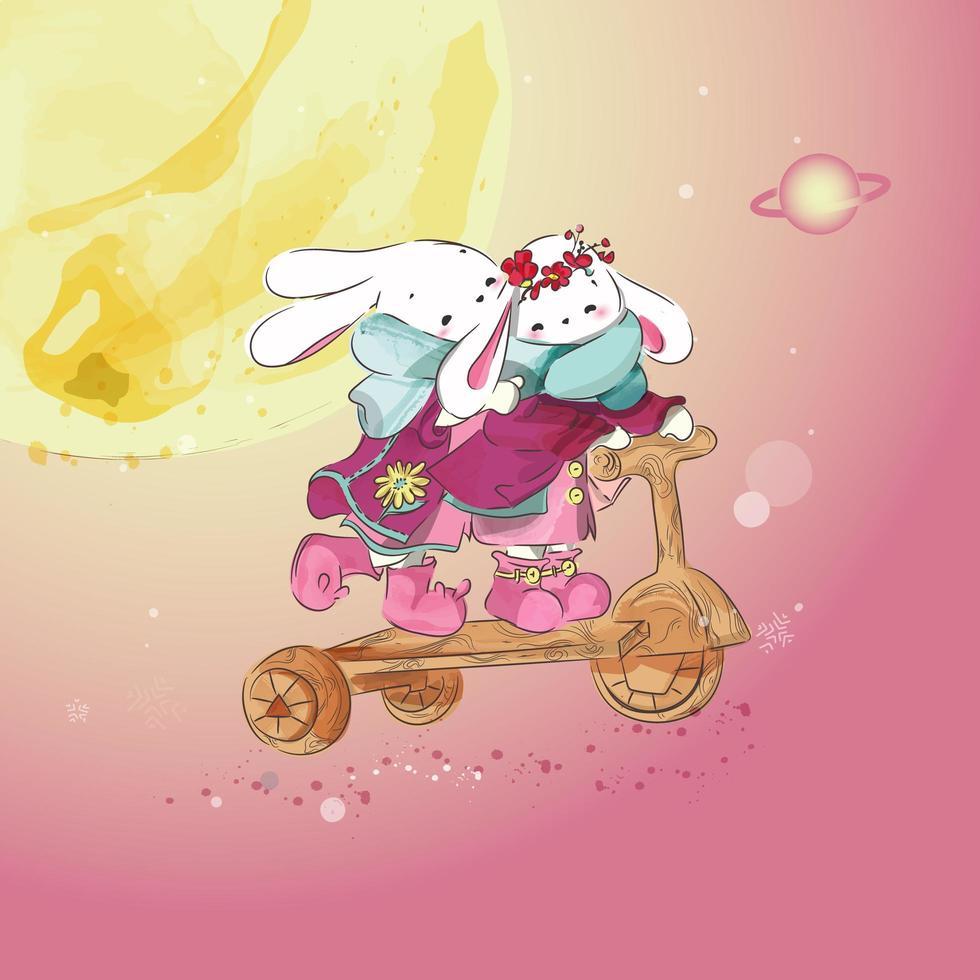 konijn en een houten auto in de lucht vector
