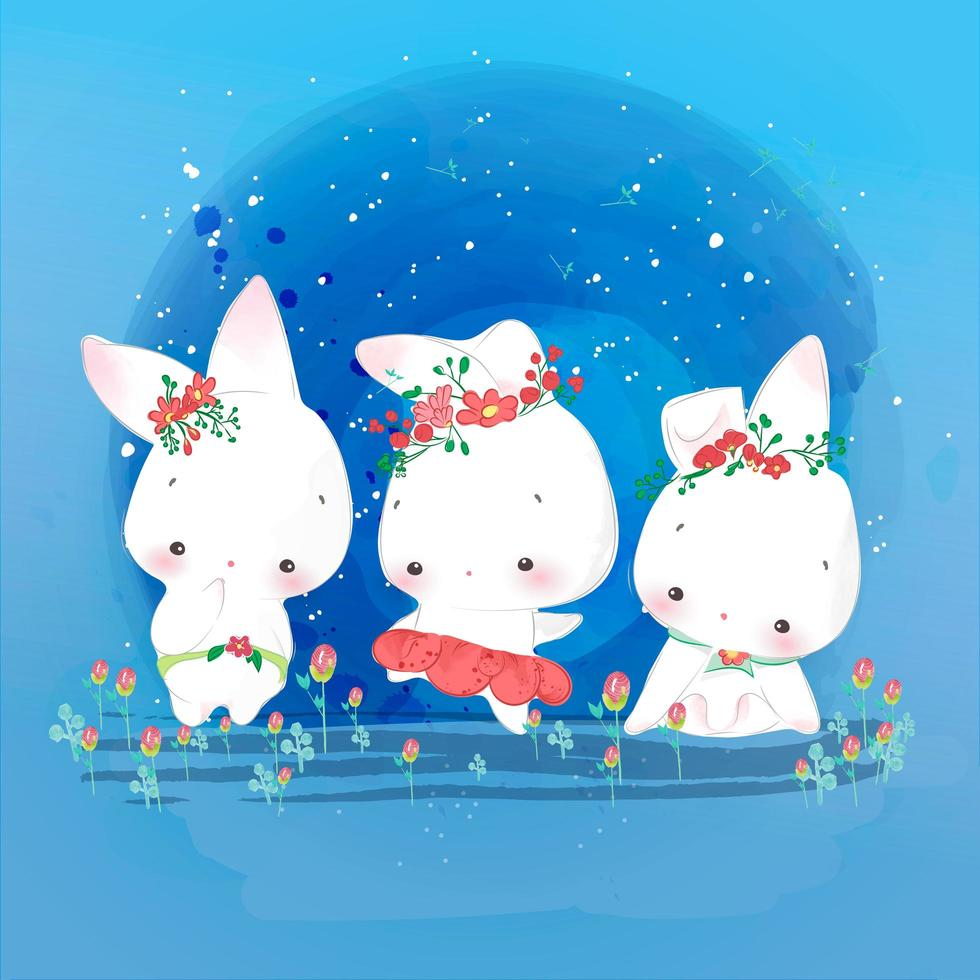 3 kleine konijnendieren vector