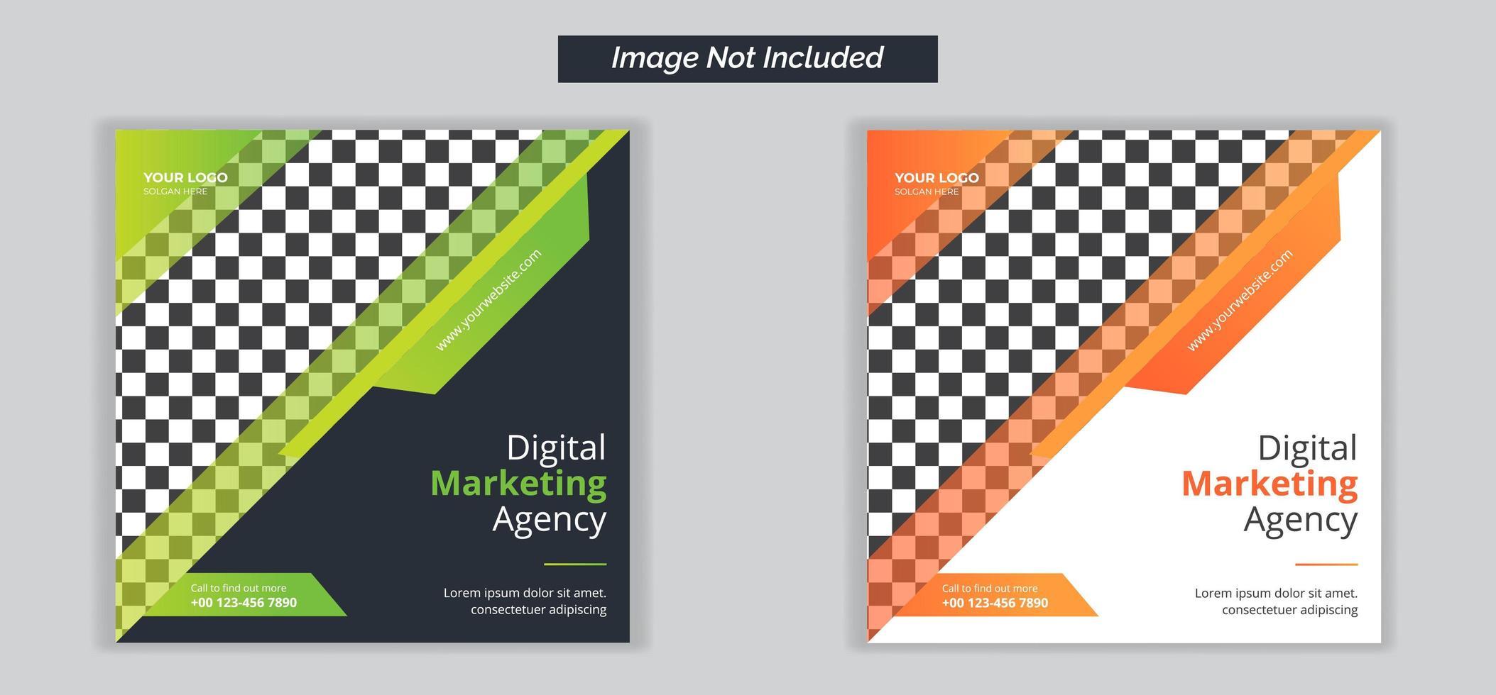 social media banners voor digitaal marketingbureau vector