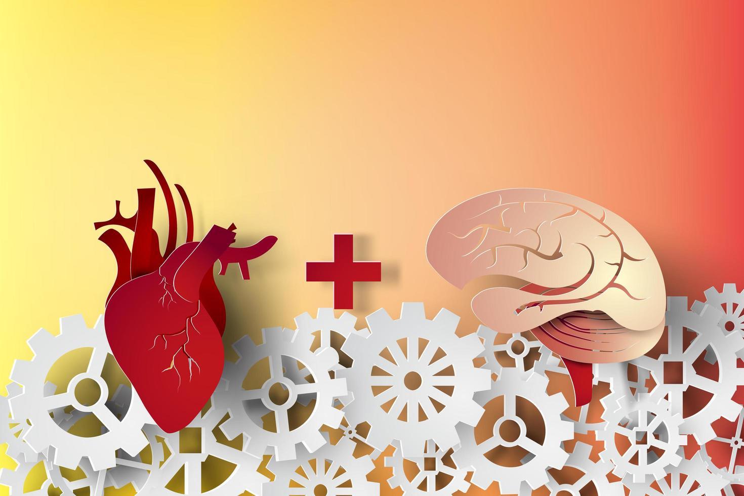 papier kunst hart en hersenen concept vector