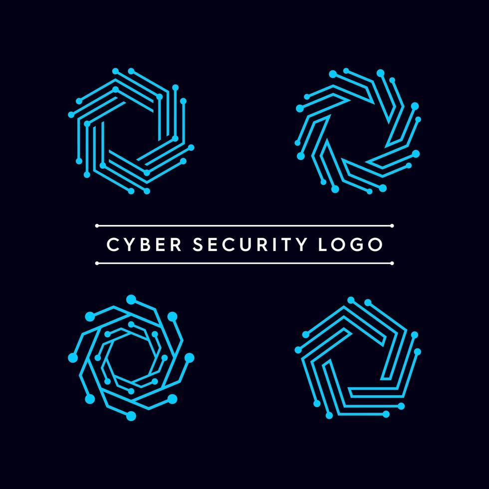 abstracte technologie vorm logo set vector