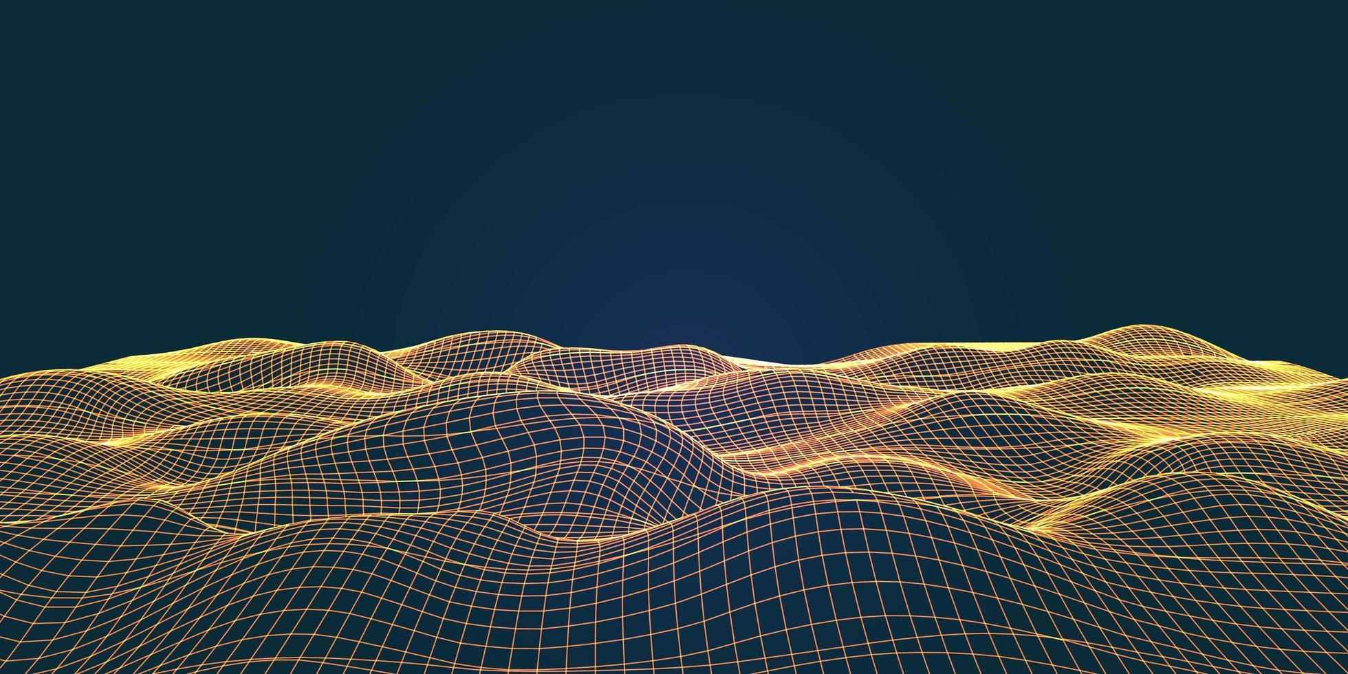 vloeiend draadframe landschap met verbindingslijnen vector